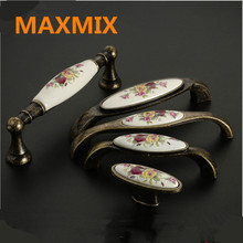MAXMIX  96mm 128mm Wardrobe cabinet door handle antique handles for furniture Flowers cup pull handles drawer handles 6PCS