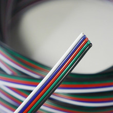 Freeshipping 20m 5-pin cable wire 22 AWG RGB Extension Blue/Red/White/Green/Black for RGBW SMD 5050 3528 Led RGB strip light
