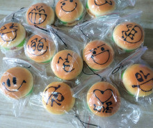 New Cute cartoon face hamburger squishy charm / PU mobile phone strap / Wholesale(China)