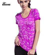 BINAND Camouflage Color Women Sports Yoga Shirt Breathable Running Exercises Fitness T-shirt Quick Dry Tops Short Sleeve Tees