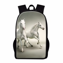 Dispalang cool 16-inch children animal bag white horse backpacks for school students bagpack children school bags for teenagers