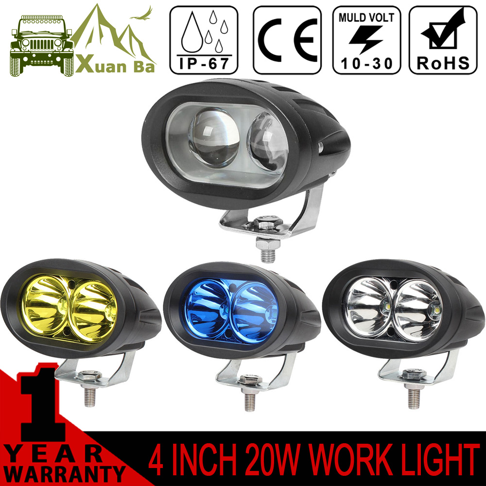 XuanBa 2Pcs 4 inch 4D 20W Mini Led Work Light For ATV 4x4 Offroad Truck Motorcycle Bicycle Headlight Working Lamp Driving Lights<br><br>Aliexpress