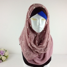 Luxury Rose Lace Scarf Pearls New Design Plain Lace Shawl Cotton Viscose Muslim Scarves Hijabs Fashion Beads Scarf Eid Gifts