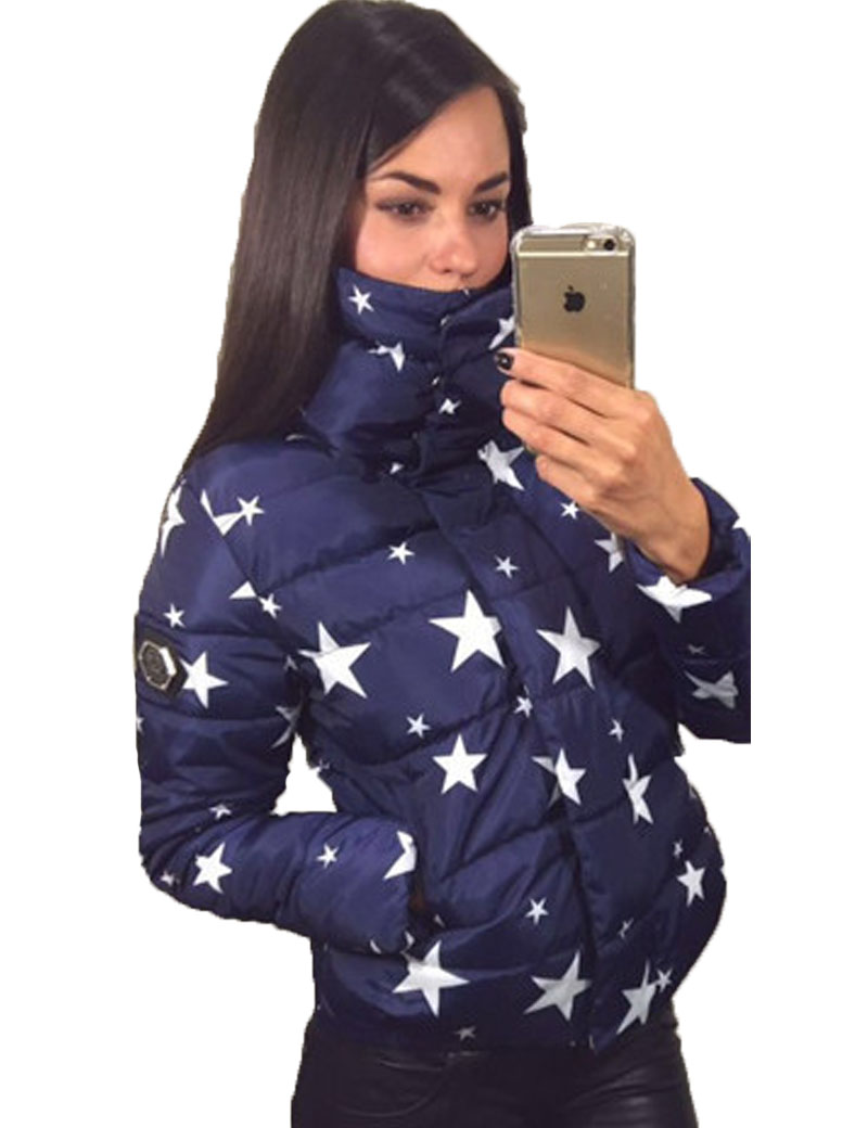 Womens Winter Jackets And Coats 2017 Womens Turtle Neck Thick Warm Ladies Short Jacket Female Stars Printing Manteau FemmeОдежда и ак�е��уары<br><br><br>Aliexpress