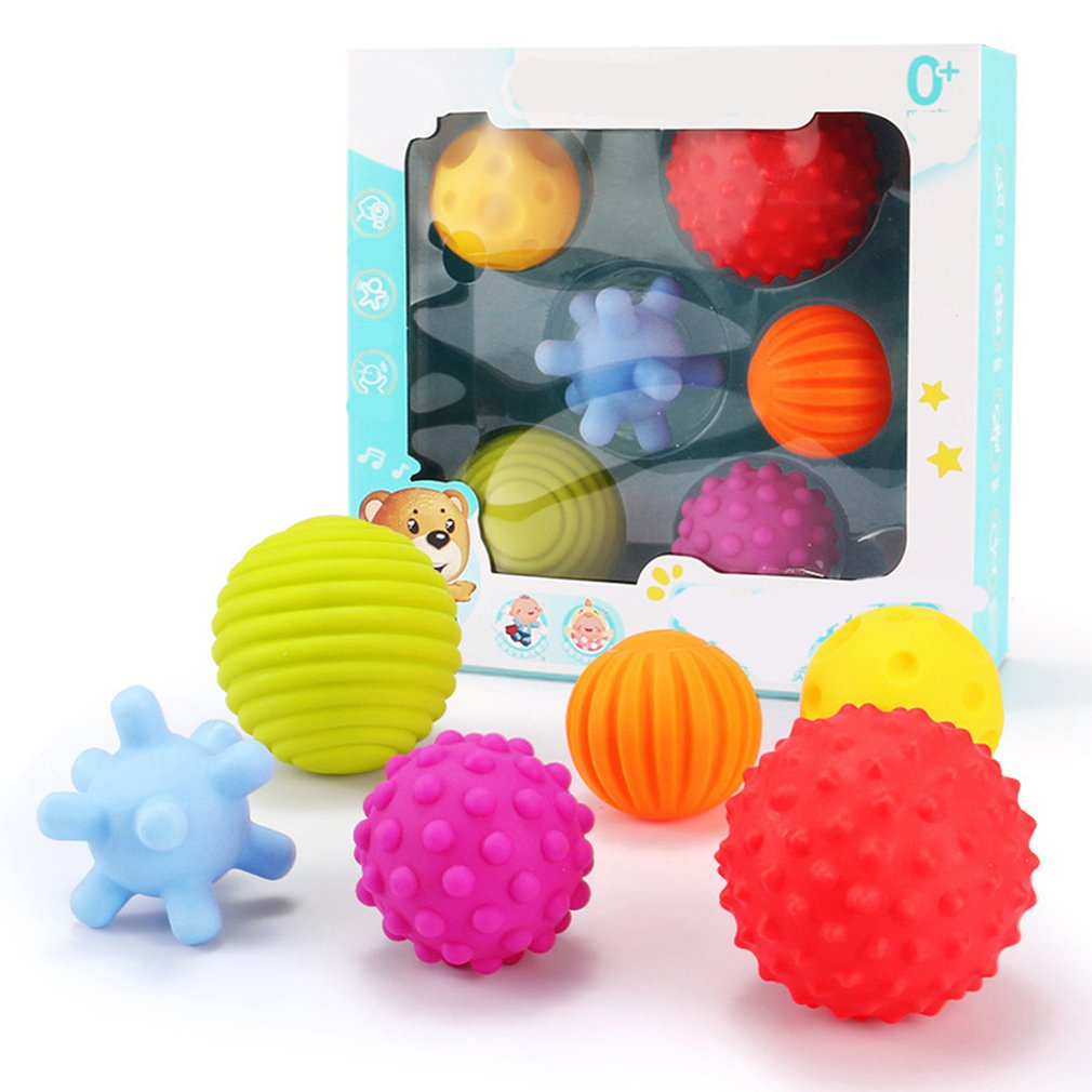 6PC Develop Baby Tactile Senses Toy Touch Hand Training Ball Massage Soft Ball