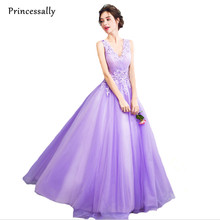 Lavender Purple Evening Dress Floor Length New Sexy V-neck The Bride Princess Banquet Sweet Appliques Lace Long Prom Party Gowns(China)