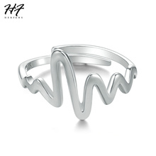 HERFANS New 925 Sterling Silver Unique Wire Drawing Electrocardiogram Adjustable Ring Jewelry for Women Wholesale RY010(China)