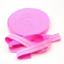 10 Yards Neon Pink 1.5cm Width Glitter Elastic for Hair Headbands, Hair Accessory Glitter FOE Free Shipping