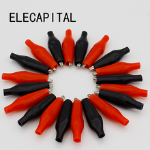 20pcs/lot 28MM Metal Alligator Clip G98 Crocodile Electrical Clamp for Testing Probe Meter Black and Red with Plastic Boot(China)