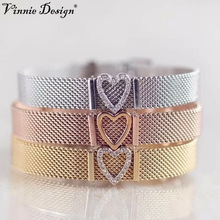 Vinnie Design Jewelry Spring Collection Mesh Keeper Bracelet  with 1 Heart Key Stainless Steel Charm Bracelets