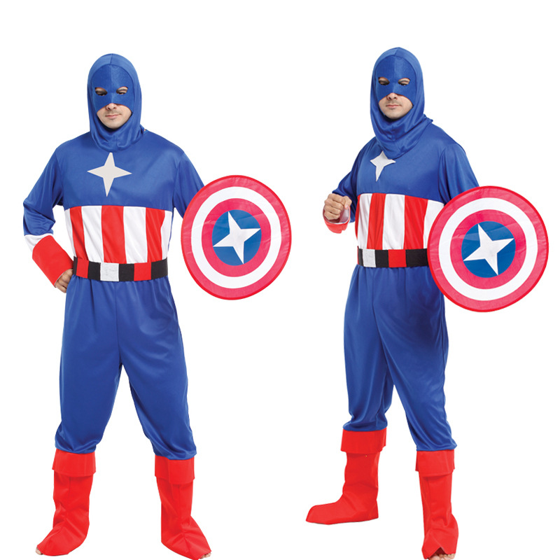 Halloween Cosplay Costume Adult American Captain Alliance Party Festival Performance Suit Supplies With Shield, 556g<br>