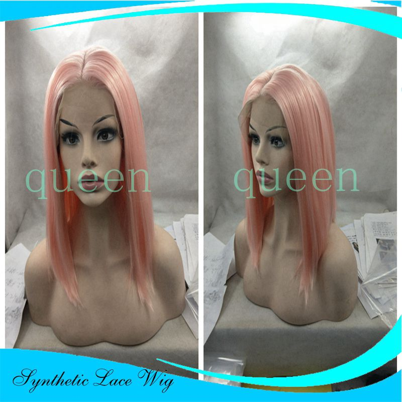 Handmade straight Ombre Pink Short Bob Synthetic Lace Front Wig Heat Resistant Brazilian Hair for White Women Long Natural Wigs<br><br>Aliexpress