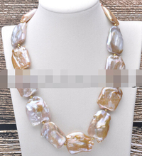 Free shipping   001618  pink & lavender Square keshi pearl necklace