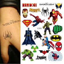 1sheet new Multi-style 25models Temporary Tattoo Batman Spider/Hulk/ Superman Cartoon kids Child Tattoo Sticker Colored tatuagem