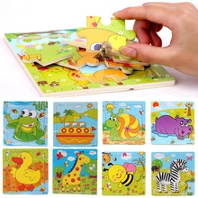 Hot Sale Wood Puzzles For Children Cartoon Animal Model Learning Education Toys Educational 3D Wooden Jigsaw Puzzle Toy Gifts(China)