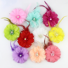 5pcs 7cm Artificial fabric stamen Flower Heads silk flowers With Rhinestone Feather For Corsage/hat/Wedding Decoration Poppy
