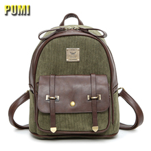 PUMI brand vintage beauty corduroy small women backpack ladies school travel bag for teenager girl belt design striped daily bag