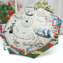 2017 Halloween Present Pirate Collection Woman&Man 3 Folding Umbrella With Sailing Map Print