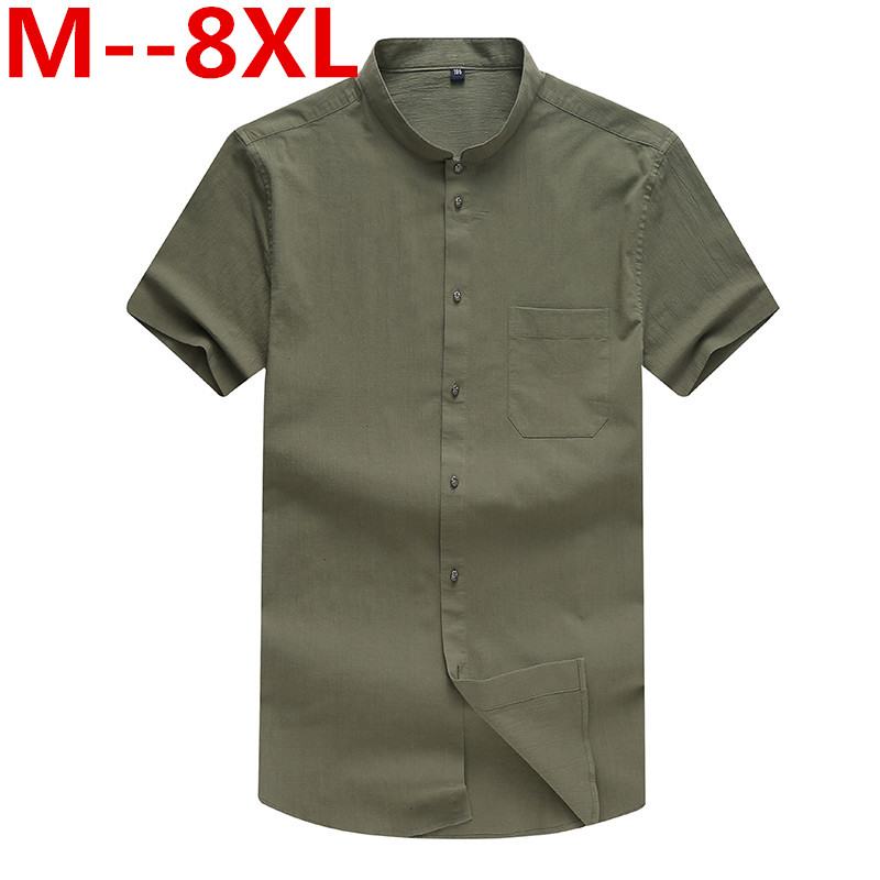 10XL 8XL 6XL 5XL Chinese Style Men Shirt Summer Solid Color Fashion Casual Shirt Flax Loose Soft Comfortable Short-sleeved Shirt