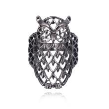 Special Design Cool Looking Finger Ring Owl Three Colors Hollow Out Bird Rings Hot Sale Fashion R1155-R1157