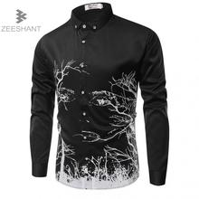 ZEESHANT Men's Shirt 2017 New Arrivals Fashion Casual Style Long Sleeve 3D Print Cotton Slim Fit Dress Male French Shirts