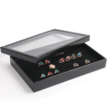 Organizer Show Case Jewelry Display Rings Holder Box New Black100 Slots Ring Storage Ear Pin Display Box A03-1