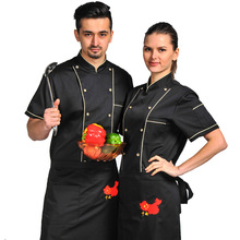 Short Sleeve Women Men Restaurant Chef Jacket Hotel Chef Service Kitchen Cook Clothes Bakery Kitchen Wear Tooling Uniform 89
