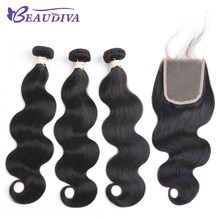 Beaudiva Pre-Colored Brazilian Remy Hair Body Wave With Closure 100% Human Hair Weave Natural Color 3 Bundles With Lace Closure(China)