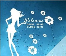 Dress girl shops marked welcome to sticker wall post glass window wall stick figure free shipping
