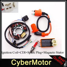 Magneto Stator Racing Ignition Coil 6 Pins AC CDI Box A7TC Spark Plug For Chinese GY6 49cc 50cc Engine Moped Scooter
