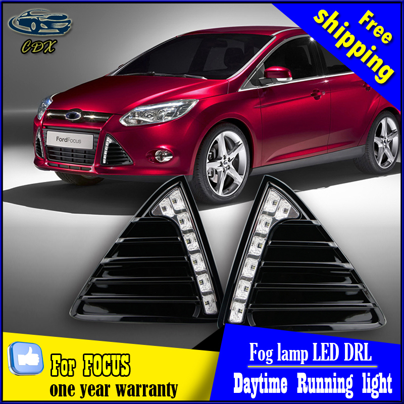 For Ford Focus 3 2012 2013 2014 LED DRL Daytime Running Lights Bumper Front Fog Lamp With Dimming Style Relay 12V<br><br>Aliexpress