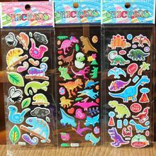 reward sticker 10pc / lot mixed wholesale dinosaur toys 3D bubble wall stickers / children's cartoon bubble stickers Decorative(China)