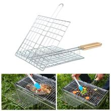 Hot Barbecue Meat Burger Fish Long Handle Holder Grill Rack Basket Folding Stand