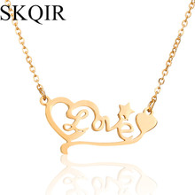 SKQIR 2017 News Necklaces & Pendants Heart Love Necklaces Gold Chain Stainless Steel Fashion Women Letter Pendant Jewelry(China)