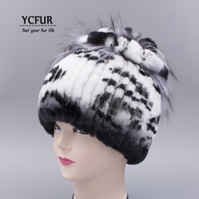 YCFUR Fashion Women Winter Fur Hats Caps Warm Enough Stripes Rex Rabbit Fur Cap Fox Fur Beanie Female Ear Protect Hat Lady