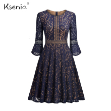 Buy Ksenia Flare Sleeve Lace Ball Gown Women Dress Vintage Style elegant Three Quarter Dresses 2018 Spring New Night Party Dress for $33.23 in AliExpress store