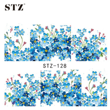 1sheets Fashion NEW Arrival Small Flower Nail Art Stickers Blue Colors 3d DIY Designs Stamping Nail Decorations Watermark STZ128
