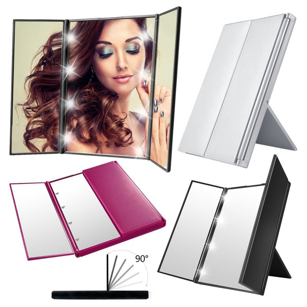 Tri-sided Foldable 8 LED Lighted Makeup Mirror
