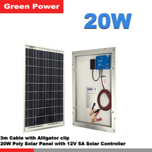 20W Solar Power System with poly solar panel and 12V 5A PWM solar charge controller 3m cable alligator clip(China)