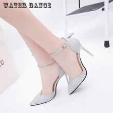 Summer new Wedding shoes Sexy Stiletto High heels Shoes Open Side Pumps Shoes V shaped bevel Pointed toe Woman Shoes Gold Silver