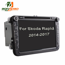 Quad Core 1024*600 Android6.0 16GB ROM 2Din Car DVD GPS Navigation Navigator Radio Player For Skoda rapid 2016 2017 for Polo 16