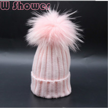 White Pink Colorful Fur Pompom Hat Real Dyeing Raccoon Fur Pom Pom Children Winter Hat Cap Pompon Ball Baby Kids Bobble Beanies(China)