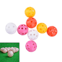 Random Colors 20Pcs New Plastic Golf Balls Whiffle Airflow Hollow Golf Practice Training Sports Balls