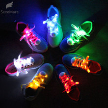 SexeMara 1 Pair New LED Shoelaces Luminous Flashing Shoe Laces Disco Party Light Up Glow Nylon Strap