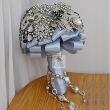 20CM Bridal bouquet Bling Diamond Jeweled  Broach Silver Ribbon bridesmaids Wedding Brooch Bouquet Bride Posy FW193