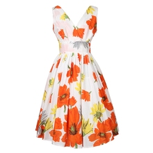 2016 Summer Hawaiian Beach Party Sun Women Dress Casual Deep V Neck Floral Dress Orange Flower Women Clothing(China)