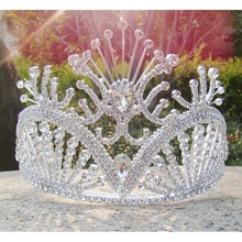 Free shipping large custom tiara tall pageant Queen tiara Rhinestone bridal tiara silver party girl's decoration crown tiara(China)