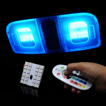 Car-styling T10 5050 SMD RGB LED Panel Car Auto Interior Reading Map Lamp Bulb Light Dome Festoon Remote Controller Flash Strobe(China)