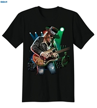 GILDAN Texas Blues Skull Playing Guitar Rock & Roll Music Lovers T-Shirt Tee Fashion T   Summer Straight 100% Cotton