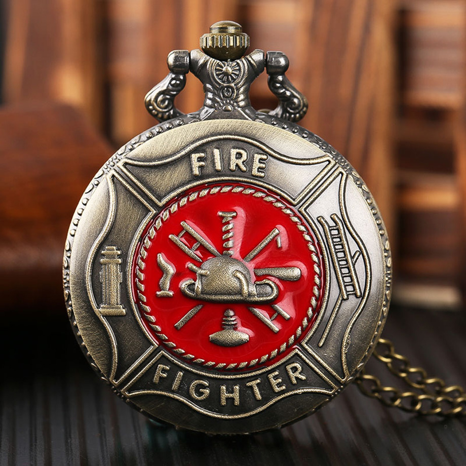 Pocket Watch Fire Fighter Red Pattern Full Bronze Quartz Watches Antique Unique Firefighter Men Women Gift With Bag 2017 (1)
